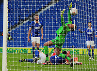 Football - 2020 /2021 Emirates FA Cup - Round Four - Brighton & Hove Albion vs Blackpool - The Amex Stadium<br /> <br /> Madine of Blackpool scores their equalising goal on the stroke of half time , past the diving Brighton goalkeeper, Walton<br /> <br /> COLORSPORT/ANDREW COWIE