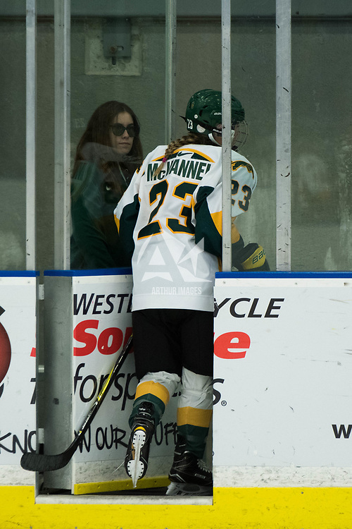 3rd year defence man Tamara McVannel (23) of the Regina Cougars in action during the Women's Hockey Homeopener on October 7 at Co-operators arena. Credit: Arthur Ward/Arthur Images
