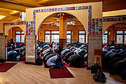 Hundreds of people pray at the Darussalam Mosque on Friday, March 15, 2019, in San Francisco, Calif.