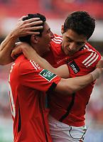 20090117: LISBON, PORTUGAL - SL Benfica vs Belenenses: Portuguese League Cup 2008/2009. In picture: Di Maria and Katsouranis (Benfica). PHOTO: Alvaro Isidoro/CITYFILES