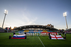 Players of both team during anthem ceremony before friendly Football match between U21 national teams of Slovenia and England, on October 11, 2019 in Ljudski Vrt, Maribor, Slovenia. Photo by Blaž Weindorfer / Sportida