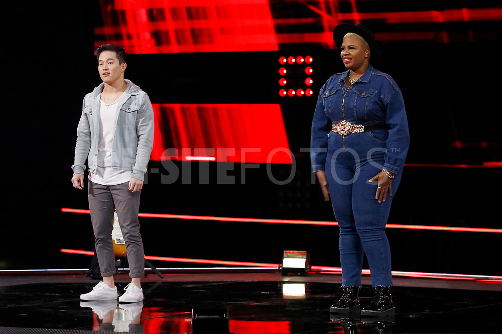 """THE VOICE -- """"Knockout Reality"""" Episode 2010 --  Pictured: (l-r) Keegan Ferrell, Dana Monique -- (Photo by: Trae Patton/NBC)"""