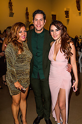 SANTA ANA, CA - OCT 10: Mexican actress and singer-songwriter Dulce Maria poses with former RBD mate Christian Chavez and Glaudi founder and CEO Johana Hernandez during ParaTodos Magazine 20th Anniversary Gala at the Bower Museum on 10th of October, 2015 in Santa Ana, California. Byline, credit, TV usage, web usage or linkback must read SILVEXPHOTO.COM. Failure to byline correctly will incur double the agreed fee. Tel: +1 714 504 6870.