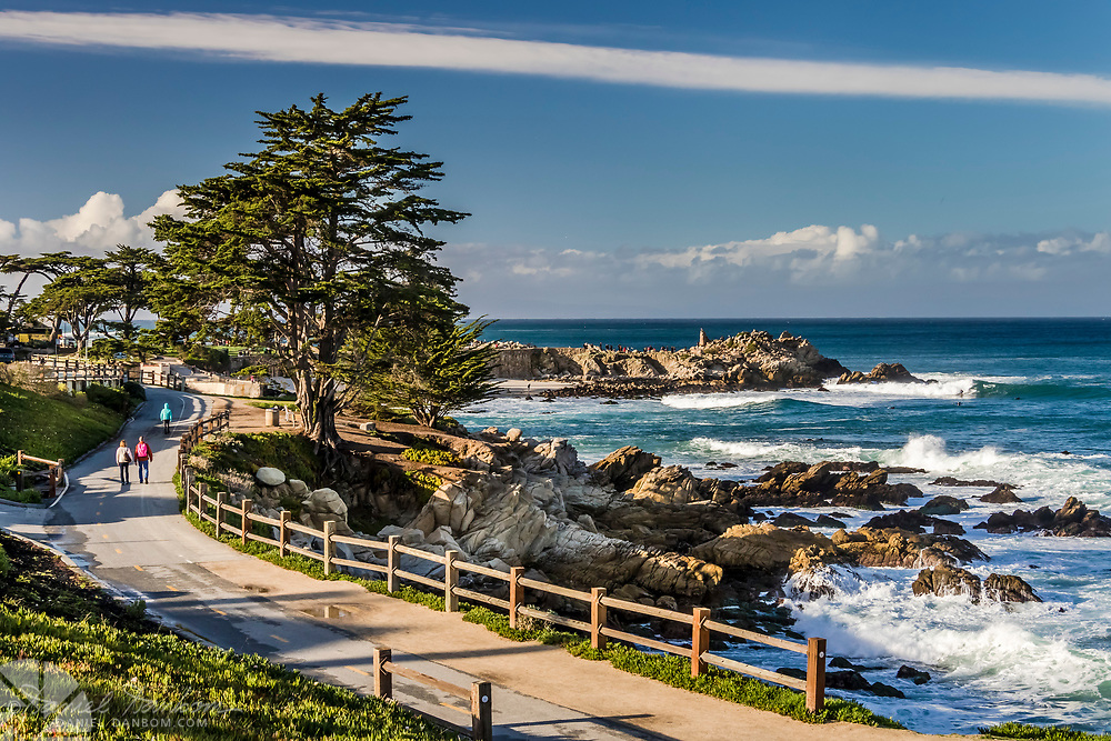 Recreation Trail and shoreline at Lovers Point, Pacific Grove, California on the Monterey Peninsula