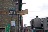 Community Anti-drugs sign in Dublin's inner city in Ireland