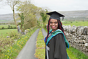 """18/04/2017 REPRO FREE:  <br /> MFA Graduate Joan Nanfuka who graduated from at the 13th conferring ceremony, held in the Minstrels gallery the 16th century Newtown Castle at the heart of the BCA campus, exemplifies the continued success of the Burren's  alternative model of art education . The Irish and  international graduates included Elizabeth Matthews, conferred with  a PhD for her research on Utopian studies , and six international graduates whose work on display in the BCA gallery addressed the ultimate question, """"who am I called to be"""" In her address President of the college Mary Hawkes Greene referred to the unique place based educational  model  committed to  individual student centred  education accredited by NUIGalway , and how it effectively  embraces the often conflicting forces of the global and the local, the public and the private as well as the collective and the individual. <br /> .  Photo:Andrew Downes, xposure"""