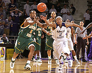 Kansas State guard Black Young (2) and Cleveland State's Victor Morris (5) chase down a loose ball in the second half at Bramlage Coliseum in Manhattan, Kansas, December 5, 2006.  K-State beat the Vikings 93-60.<br />