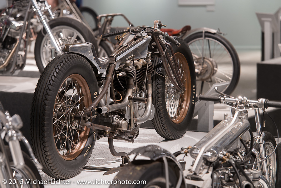 """Shinya Kimura's 1914 Excelsior salt flats racer in Michael Lichter's Motorcycles as Art annual exhibition titled """"The Naked Truth"""" at the Buffalo Chip Gallery during the 75th Annual Sturgis Black Hills Motorcycle Rally.  SD, USA.  August 4, 2015.  Photography ©2015 Michael Lichter."""