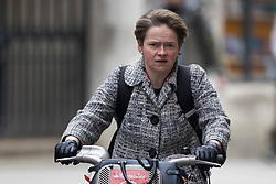 © Licensed to London News Pictures. 08/03/2021. London, UK. Head of the NHS Test and Trace programme Baroness Dido Harding cycles in Westminster.  Photo credit: George Cracknell Wright/LNP