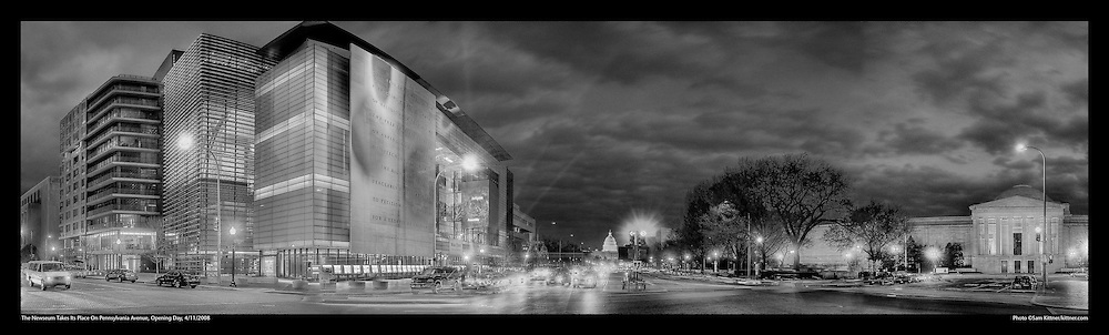 Panoramic Photography of the Newseum on it's opening night on Pennsylvania Avenue in Washington, DC 4/11/2008.  Also seen: The National Gallery of Art and US Capitol. Print Size (in inches): 15x4.5; 24x7; 36x11; 48x14.5; 60x18; 72x22.