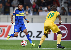 Cape Town-180818 Cape Town City midfielder Bradley Ralani challenged  byNkosinathi Sibisi  of Golden Arrows in a PSL match at Cape Town Stadium .photograph:Phando Jikelo/African News Agency/ANA