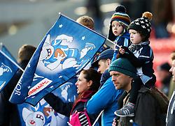 A young Sale Sharks fan waves a Christmas flag before the match - Mandatory by-line: Matt McNulty/JMP - 20/11/2016 - RUGBY - AJ Bell Stadium - Sale, England - Sale Sharks v Saracens - Aviva Premiership