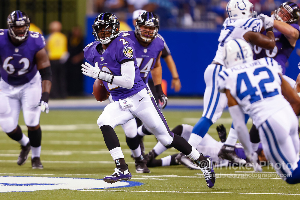 INDIANAPOLIS, IN - AUGUST 20: Josh Johnson #2 of the Baltimore Ravens runs the ball against the Indianapolis Colts at Lucas Oil Stadium on August 20, 2016 in Indianapolis, Indiana.  (Photo by Michael Hickey/Getty Images) *** Local Caption *** Josh Johnson