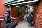 Corridors leading to the platforms of the new area at Prague main railway station (PRAHA Hlavni Nadrazi).