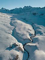 Aerial View of Swiss Ski Resort, Melch See Frutt, in Winter in Obwalden, Switzerland