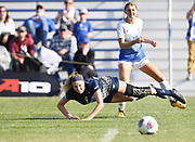 George Washington defender Megan McCormick (on ground) and St. Louis University player Megan Nixon watch the ball after they collided. St. Louis University defeated George Washington in the championship game of the Atlantic 10 Conference Women's Soccer Tournament at Robert Hermann Stadium at St. Louis University on Sunday November 10, 2019.<br /> Photon by Tim Vizer