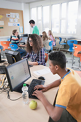 University students studying in computer lab, Bavaria, Germany