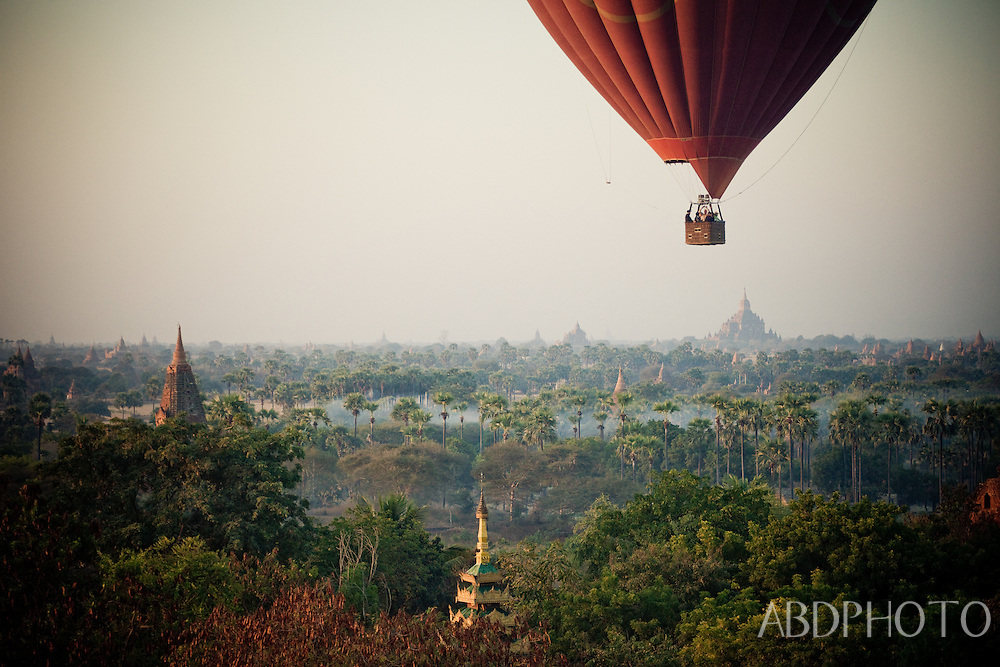 Balloons over Bagan ancient city Kingdom of Pagan temples and pagodas Burma (Myanmar)