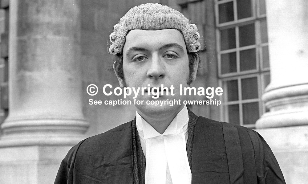 Christopher William Milner, barrister, N Ireland, November 1971, 197111000472<br /> <br /> Copyright Image from Victor Patterson, Belfast, UK<br /> <br /> t: +44 28 9066 1296 (from Rep of Ireland 048 9066 1296)<br /> m: +44 7802 353836<br /> e: victorpattersonbelfast@gmail.com<br /> <br /> www.images4media.com<br /> <br /> Please see my full Terms and Conditions of Use at https://www.images4media.com/p/terms-conditions - it is IMPORTANT that you familiarise yourself with them.<br /> <br /> Images used online incur an additional cost. This cost should be agreed in writing in advance. Online images must be visibly watermarked i.e. © Victor Patterson or that of the named photographer within the body of the image. The original metadata must not be deleted from images used online.<br /> <br /> This image is only available for the use of the download recipient i.e. television station, newspaper, magazine, book publisher, etc, and must not be passed on to a third party. It is also downloaded on condition that each and every usage is notified within 7 days to victorpattersonbelfast@gmail.com.<br /> <br /> The right of Victor Patterson (or the named photographer) to be identified as the author is asserted in accordance with The Copyright Designs And Patents Act (1988). All moral rights are asserted.