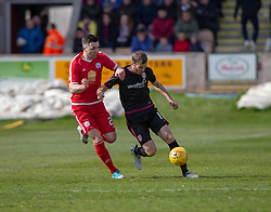 Brechin City's Michael Miller and Arbroath's Danny Denholm. Brechin City 1 v 1 Arbroath, Scottish Football League Division One played 13/4/2019 at Brechin City's home ground Glebe Park. Arbroath win promotion.