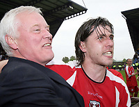 Photo: Rich Eaton.<br /> <br /> Oxford United v Leyton Orient. Coca Cola League 2. 06/05/2006.<br /> <br /> Orient Chairman Barry Hearn and Captain John Mackie celebrate their promotion