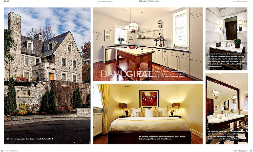 Interiors and architecture editorial story: Gold Square Mile Mountain Mansion in Westmount for Montreal Home Magazine Winter Issue - december 2011