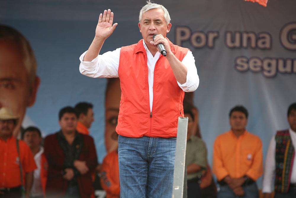 General Otto Pérez Molina, as a candidate  of the Partido Patriota in Nebaj, Quiche, Guatemala