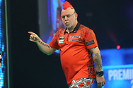 Peter Wright during the PDC Unibet Premier League darts at Marshall Arena, Milton Keynes, United Kingdom on 24 May 2021.