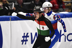 February 9, 2019 - Torino, Italia - Foto LaPresse/Nicolò Campo .9/02/2019 Torino (Italia) .Sport.ISU World Cup Short Track Torino - Men 500 meters Semifinals .Nella foto: Shaolin Sander Liu esulta..Photo LaPresse/Nicolò Campo .February 9, 2019 Turin (Italy) .Sport.ISU World Cup Short Track Turin - Men 500 meters Semifinals.In the picture: Shaolin Sander Liu celebrates (Credit Image: © Nicolò Campo/Lapresse via ZUMA Press)