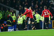 Jesse Lingard of Manchester United (l) celebrates with his teammates after scoring his teams 2nd goal. Premier league match, Everton v Manchester Utd at Goodison Park in Liverpool, Merseyside on New Years Day, Monday 1st January 2018.<br /> pic by Chris Stading, Andrew Orchard sports photography.