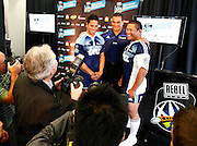 Media photograph Blues players Steve Brett (L), coach Pat Lamb and Kevin Mealamu. Super 14 rugby union. 2010 Rebel Sport Super 14 New Zealand squads naming press conference. Auckland, New Zealand. Wednesday 11 November 2009. © Copyright Photo: www.photosport.nz