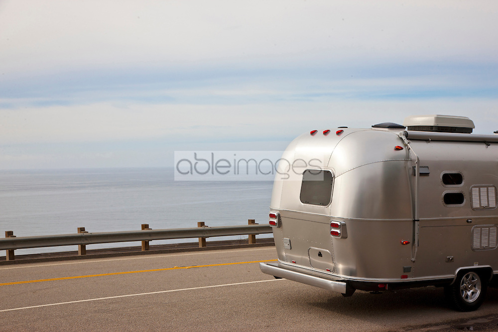 Back View of Airstream Trailer on State Route 1, California, USA