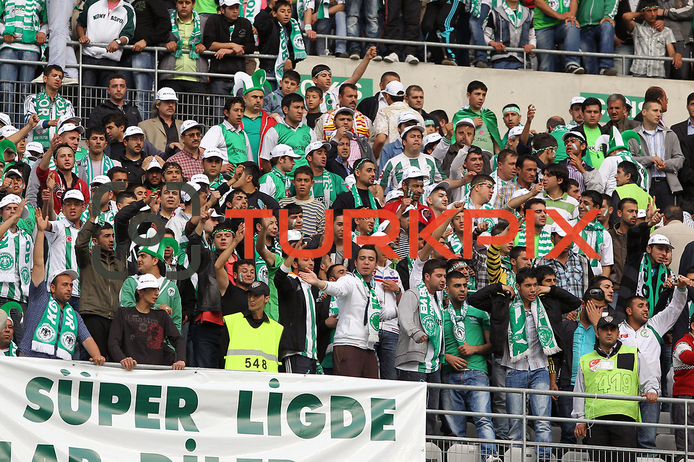 Konyaspor's supportres during their Turkish soccer Play Off final match Altayspor between Konyaspor at Ataturk Olympic Stadium in Istanbul Turkey on Sunday, 23 May 2010. Photo by TURKPIX