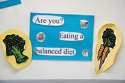 Posters in school corridor advising on healthy eating,
