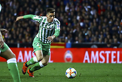 February 28, 2019 - Valencia, Spain - Giovanni Lo Celso of Real Betis Balompie During Spanish King La Copa match between  Valencia cf vs Real Betis Balompie Second leg  at Mestalla Stadium on February 28, 2019. (Photo by Jose Miguel Fernandez/NurPhoto) (Credit Image: © Jose Miguel Fernandez/NurPhoto via ZUMA Press)