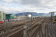 Trains and train lines coming in to the railway station in Geneva, Switzerland.