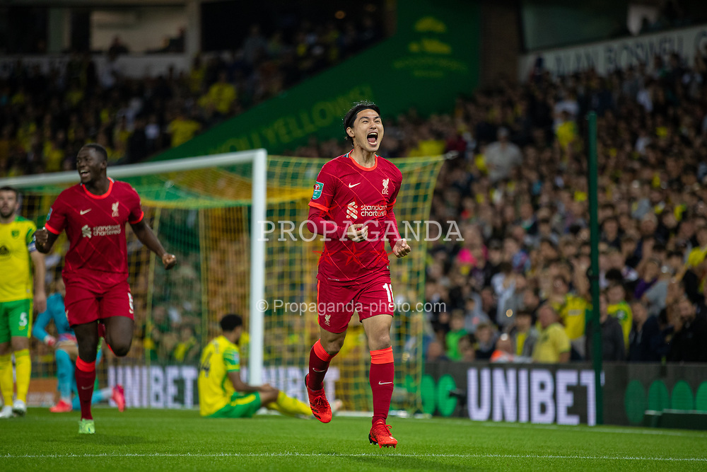 NORWICH, ENGLAND - Tuesday, September 21, 2021: Liverpool's Takumi Minamino celebrates after scoring the first goal during the Football League Cup 3rd Round match between Norwich City FC and Liverpool FC at Carrow Road. Liverpool won 3-0. (Pic by David Rawcliffe/Propaganda)