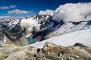 View of Forbidden Peak and Moraine Lake from Eldorado Peak, North Cascades National Park, Washington.