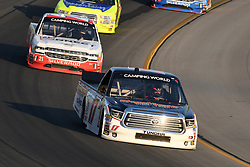 July 12, 2018 - Sparta, KY, U.S. - SPARTA, KY - JULY 12: Chris Eggleston (17) Toyota Tundra works his way through turn four ahead of a pack of trucks during the NASCAR Camping World Truck Series Buckle Up In Your Truck 225 on July 12th, 2018, at Kentucky Speedway in Sparta, Kentucky. (Photo by Michael Allio/Icon Sportswire) (Credit Image: © Michael Allio/Icon SMI via ZUMA Press)