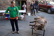 A man looks at a dead pig in traditional way pig slaughtering.  Doneztebe (Basque Country). December 08. 2016. The slaughter traditionally takes place in the autum and early winter and the work often is done in the open. (Gari Garaialde / Bostok Photo)