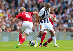 Jose Salomon Rondon of West Bromwich Albion is challenged by Emilio Nsue of Middlesbrough - Rogan Thomson/JMP - 28/08/2016 - FOOTBALL - The Hawthornes - West Bromwich, England - West Bromwich Albion v Middlesbrough - Premier League.
