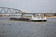 Large commercial barge on River Waal, Nijmegen, Gelderland, Netherlands