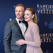 NLD/Amsterdam/20180305 - Première Bankier van het Verzet, Barry Atsma met partner Noortje Herlaar