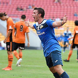 BRISBANE, AUSTRALIA - MARCH 25: Thomas Fanning of SWQ Thunder celebrates scoring a goal during the round 5 NPL Queensland match between the Brisbane Roar and SWQ Thunder at Suncorp Stadium on March 25, 2017 in Brisbane, Australia. (Photo by Patrick Kearney/Brisbane Roar)