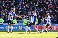 Sheffield Wednesday striker Gary Hooper (14) celebrates the 3rd goal 3-0 during the Sky Bet Championship match between Sheffield Wednesday and Cardiff City at Hillsborough, Sheffield, England on 30 April 2016. Photo by Phil Duncan.