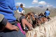 A team of kok boru players at rest during a traditional Kyrgyz horse games festival. Bosogo jailoo, Naryn province, Kyrgyzstan.