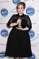 Adele arriving for the 2011 Barclaycard Mercury Music Prize at the Grosvenor House Hotel, London.