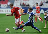20100223: LISBON, PORTUGAL - SL Benfica vs Hertha Berlin: Europa League 2009/2010 - Round of 32 - 2nd leg. In picture: Fabio Coentrao (Benfica) and Patrick Ebert (Hertha BSC Berlin). PHOTO: Alvaro Isidoro/CITYFILES