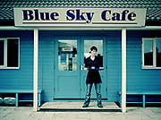 Megan works at the Blue Sky Cafe, situated on along the A149, on the 3rd May 2010 in Cromer in the United Kingdom. Over looking the North Sea, the A149 stretches from Kings Lynn to Great Yarmouth.