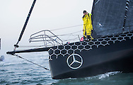 """The Vendee Globe 2016 - 2017<br /> British yachtsman Alex Thomson onboard his 'Hugo Boss""""  IMOCA Open60. He finished 2nd in the Vendee Globe solo non stop around the world yacht race. Shown here in the Sables d Olonne port celebrating. He completed the solo non stop around the world race in 74days. 19hours and 35 minutes<br /> <br /> Photo by Lloyd Images"""
